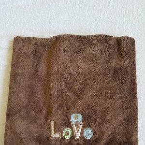 """Carter's Brown Fleece """"Love"""" Blanket"""